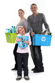 Family recycling — Stockfoto