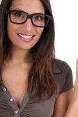Portrait of woman with funny eyeglasses — Stock Photo