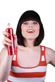 Woman about to spray an aerosol — Stock Photo