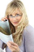 Blonde woman with glasses — Stock Photo