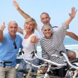 Stock Photo: Group of senior on bikes