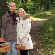 Couple with basket of chestnuts and mushrooms — Stock Photo