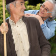 Senior couple in the garden — Stock Photo