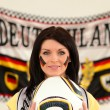 Brunette Germany fan — Stock Photo