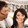 German man and woman ready to support their national team — Stock Photo