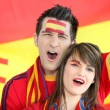 Spanish football fans singing — Stock Photo #10517468