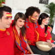 Spanish friends gathered for the game — Stock Photo
