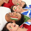Four Italian soccer fans — Stock Photo