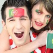 Two Portugal fans — Stock Photo