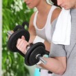 Stock Photo: Young couple gym