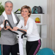 Stock Photo: Senior couple working out together