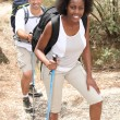 Mixed couple rambling through nature with walking pole - Stock Photo
