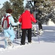 Couple returning to their chalet after skiing — ストック写真
