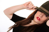 Mysterious woman wearing a Fedora hat — Stock Photo