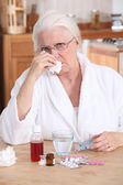 Grandmother having a cold — Stock Photo