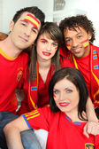 Group of Spanish football supporters — Stock Photo