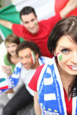 Italian fans ready to watch the match — Stock Photo