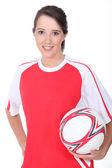 Woman football player — Stock Photo
