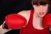 A determined female boxer — Stock Photo