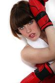 Atractiva mujer boxeadora — Foto de Stock