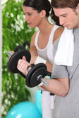 Young couple gym — Stock Photo