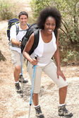 Mixed couple rambling through nature with walking pole — Stock Photo