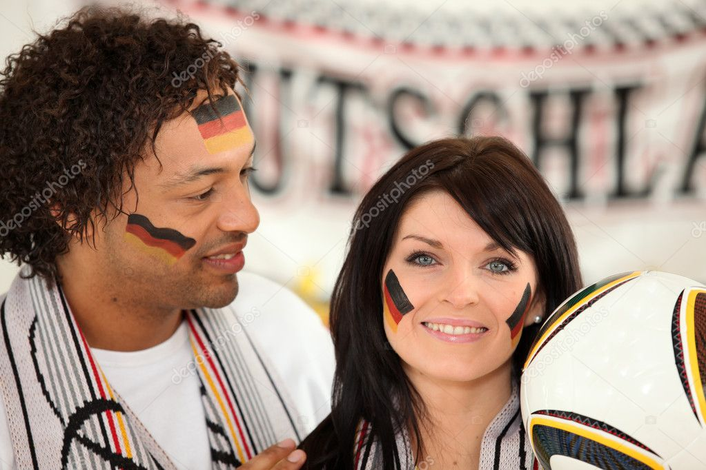 German man and woman ready to support their national team — Stock Photo #10517347