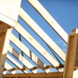 An unfinished wooden roof. — Stock Photo