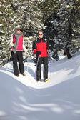 Couple cross-country skiing — Stock Photo