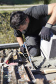 Roofer hard at work — Stock Photo