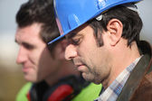 Two construction worker at the site — Stock Photo