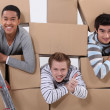 Trio of male flatmates moving in — Stok fotoğraf