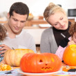 Family preparing Halloween together — Stock Photo #8011347