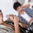 Singer in a rock band — Stock Photo
