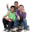 Three teenagers done studying. — Stock Photo #8014727