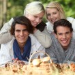 Group of friends laid in the grass in fall — Stock Photo #8014913