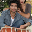 Stock Photo: Couple with djembe