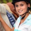 Stock Photo: Horseback rider with her horse