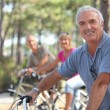 Friends, cycle riding — Stock Photo