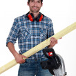 Woodworker with bright smile — Stock Photo #8016341