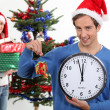 Young man and young woman waiting for Christmas — Stock Photo