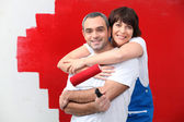 Couple painting together — Stock Photo