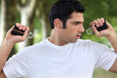 Man performing wrist exercise — Stock Photo