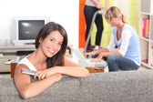 Three young woman at home — Stock Photo