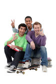 Three teenagers done studying. — Stock Photo