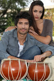 Couple with djembe — Foto Stock
