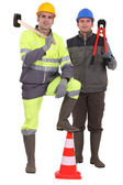 Two road workers posing — Stock Photo