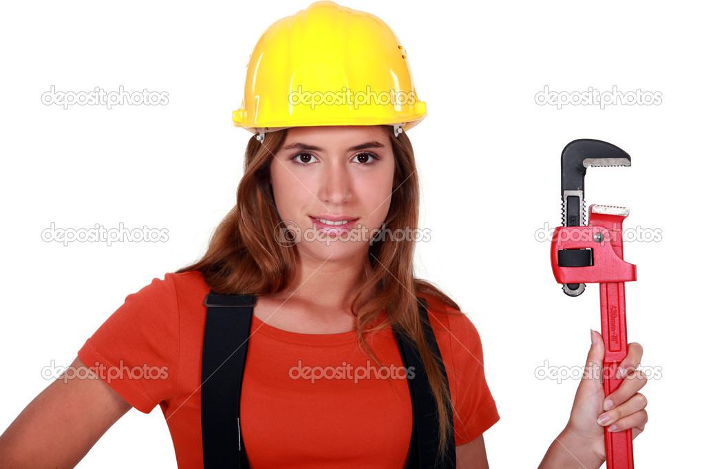 Worker with a wrench — Stock Photo #8014007