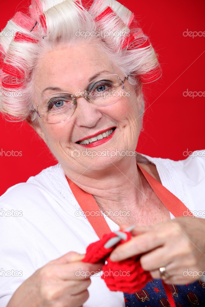 Old Lady Knitting Images : An old lady knitting stock photo � photography