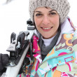 Portrait of a beautiful woman at ski resort — Lizenzfreies Foto